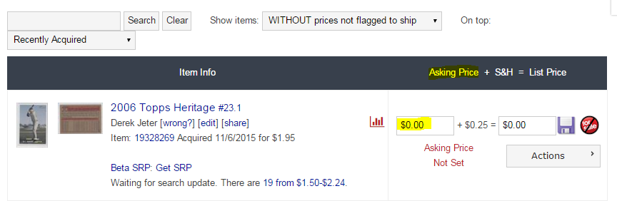 COMC Tutorial Pricing Cards - Asking Price