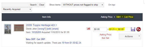 COMC Tutorial Pricing Cards - List Price