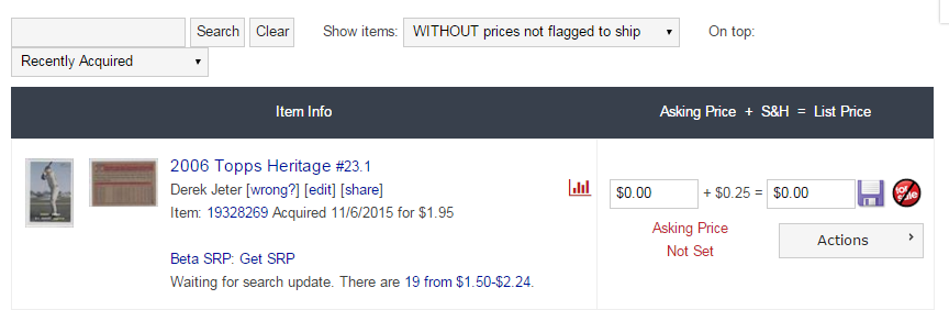 COMC Tutorial Pricing cards