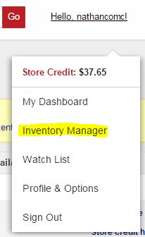 COMC Tutorial Username Menu - Inventory Manager