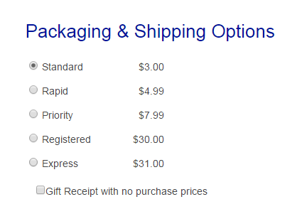 Packaging & Shipping Options